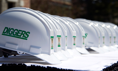 construction helmets with Montana Tech logos